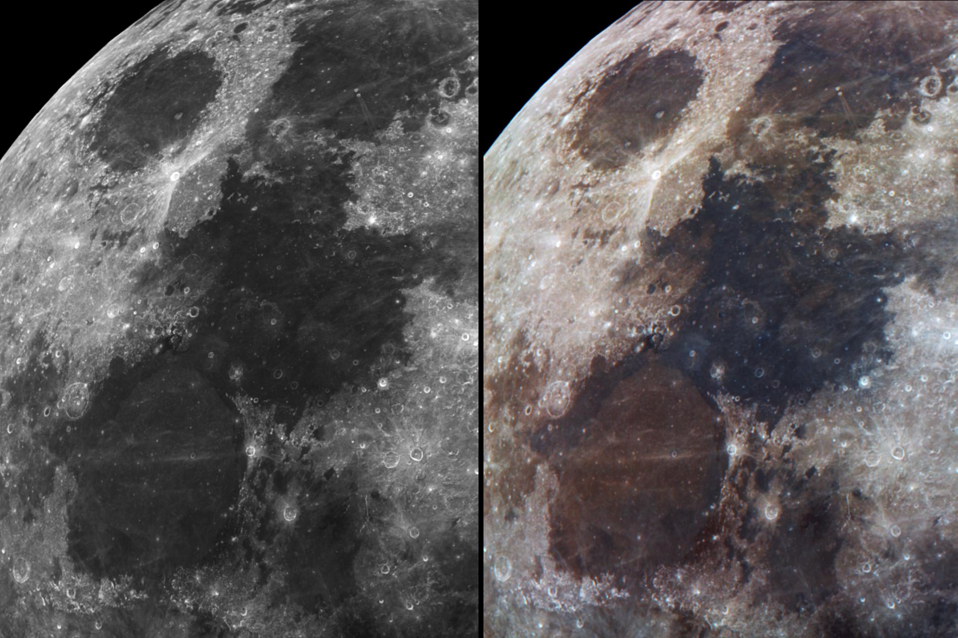Lunar maria and colors 16042019 2350