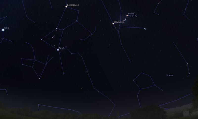 18-marzo-2021-Congiunzione-Luna-Marte-Aldebaran