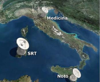 I tre radiotelescopi dell'INAF: il Sardinia Radio Telescope (SRT, in Sardegna); il radio telescopio di Medicina (in Emilia) e il radio telescopio di Noto (in Sicilia)